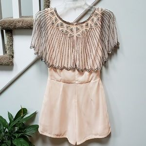 Lace and Beads pink romper